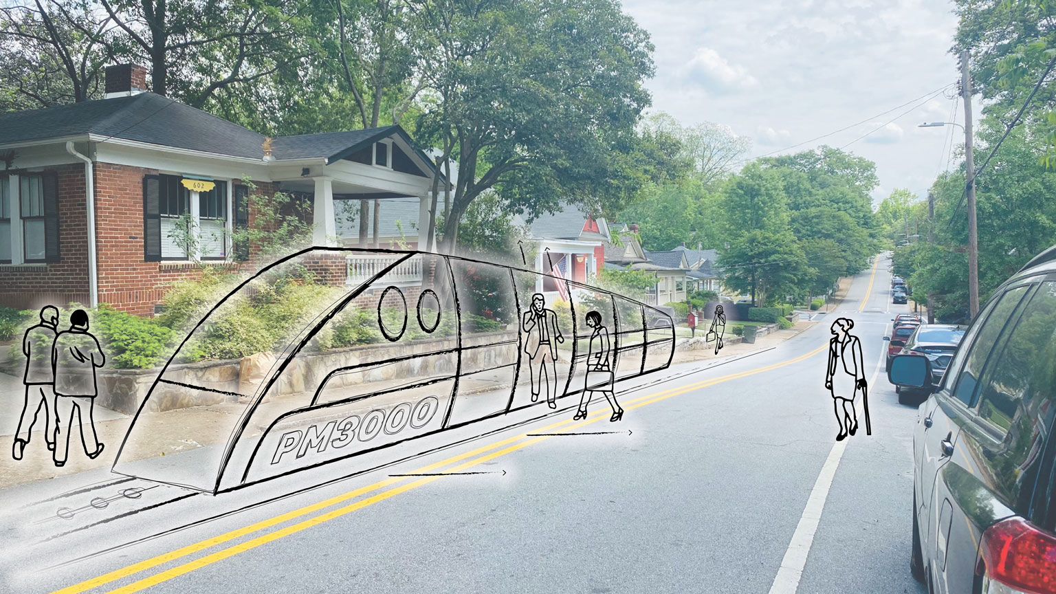 An illustration of a futuristic people mover overlaid on a photo of a house in a neighborhood in East Atlanta.